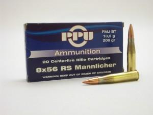 ARMYARMS.cz nabízí: PPU 8x56 RS MANNLICHER FMJ BT 13,5g/208gr